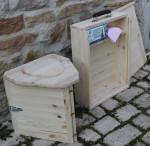 - toilette seche camping pliable transportable en bois avec valise de transport