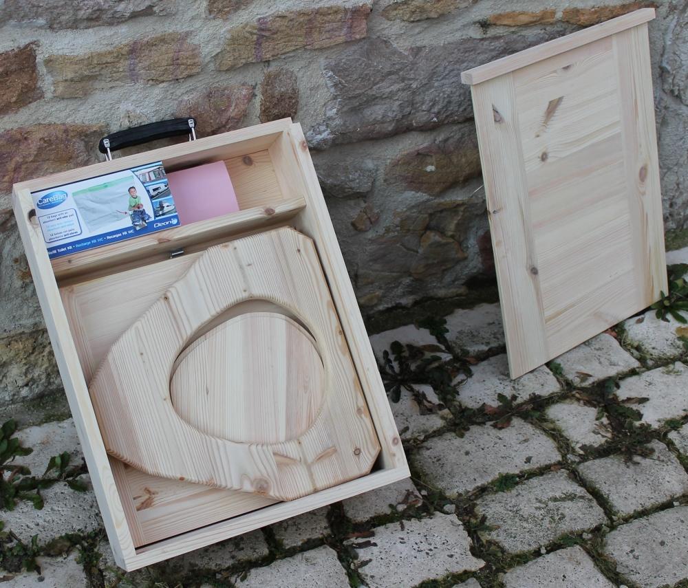 toilette seche camping pliable transportable en bois avec valise de transport toilettes. Black Bedroom Furniture Sets. Home Design Ideas