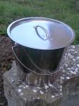 seau inox 20 litres avec couvercle inox 304 austénique (qualité alimentaire)